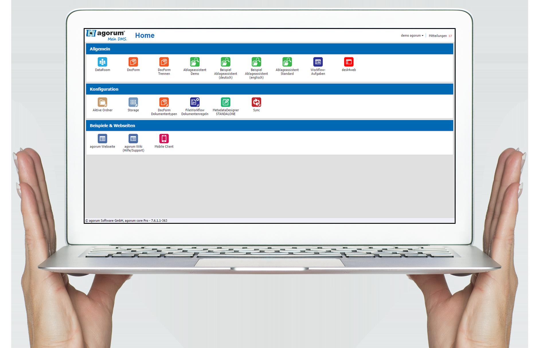 Der übersichtliche Home-Bildschirm von agorum core, der individuell anpassbare Überblick über Ihr Dokumentenmanagement