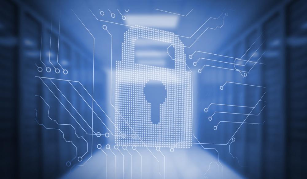 Digitally generated lock on circuit board in blue room