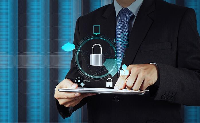 businessman hand pointing to padlock on touch screen computer as Internet security online business concept .jpeg