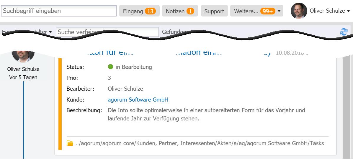 agorum core Mitteilungen in der Homebar - Digital Workplace