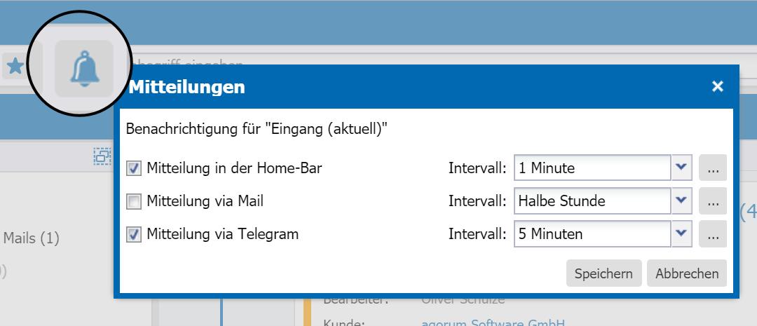 agorum core Information Center Mitteilungseinstellungen - Digital Workplace