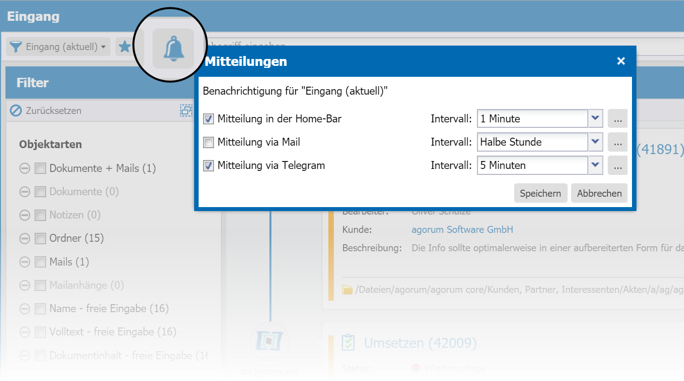 agorum core Information Center Mitteilungseinstellungen - Digital Workplace