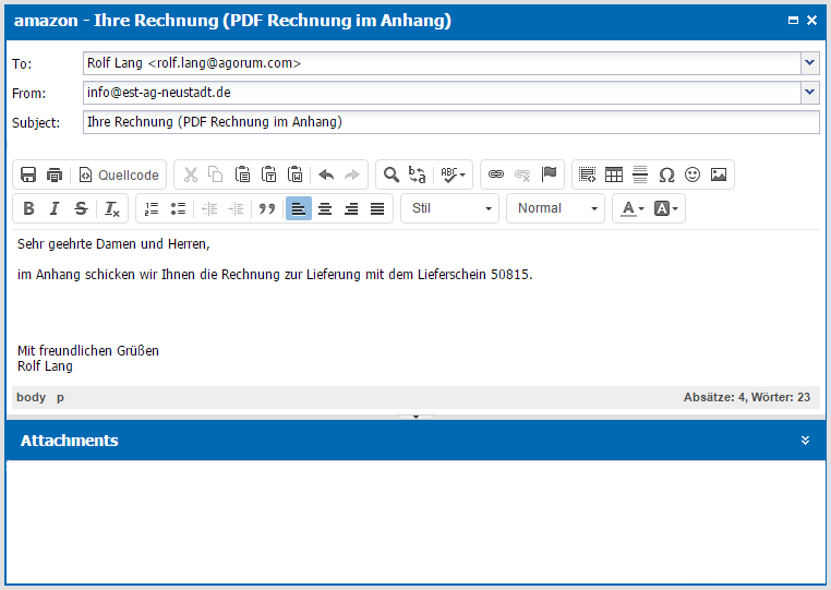 E-Mail-Editor im agorum core Smart Assistant
