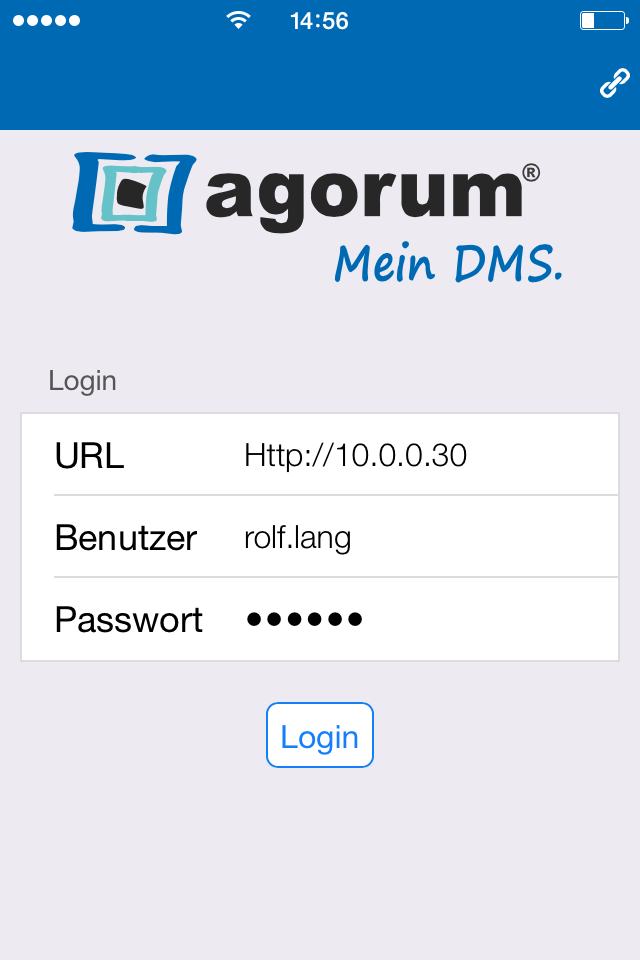 Einloggen in den agorum Mobile Client