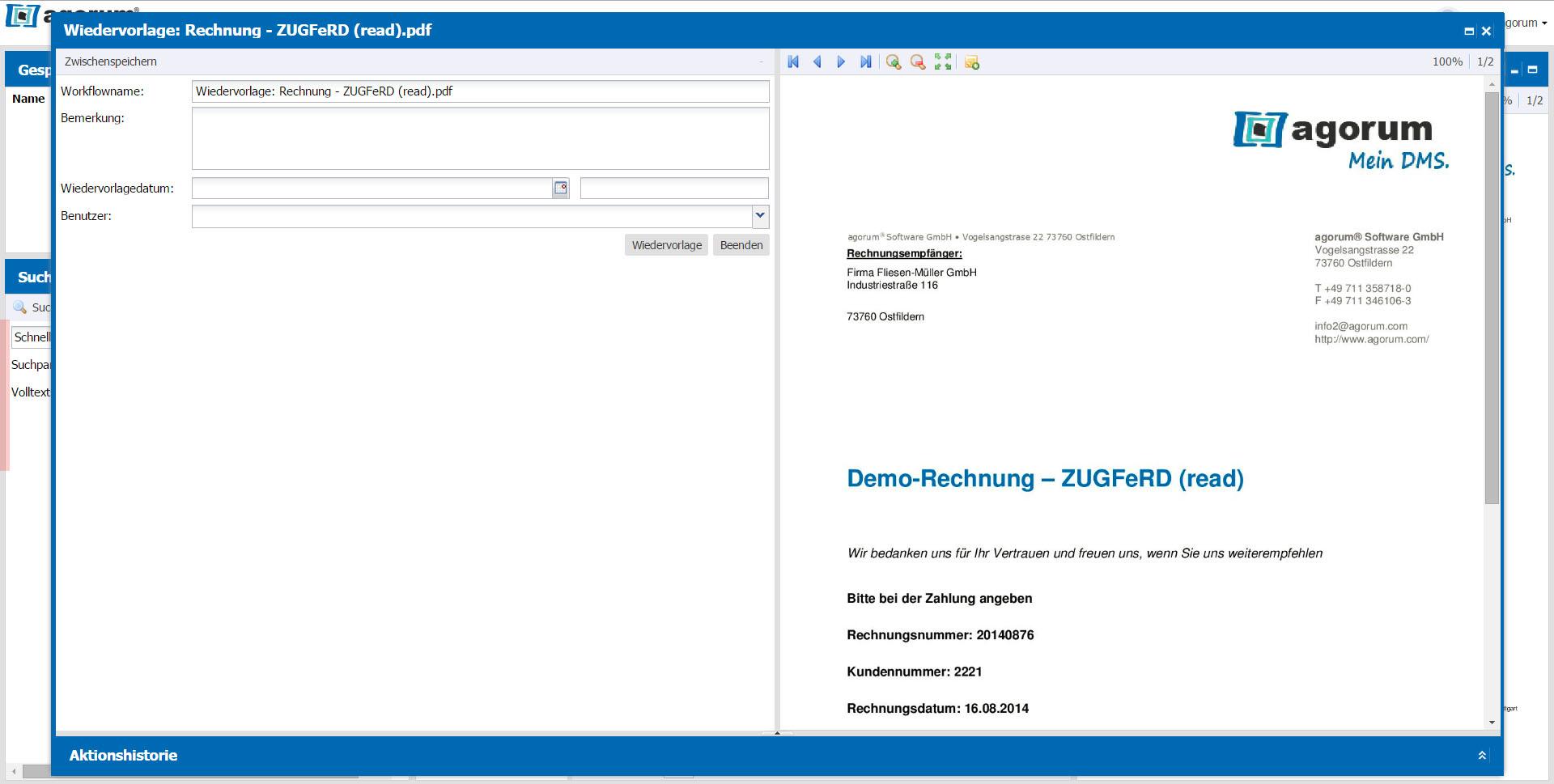 Dokumente im DMS bequem auf Wiedervorlage legen - Eingabefenster