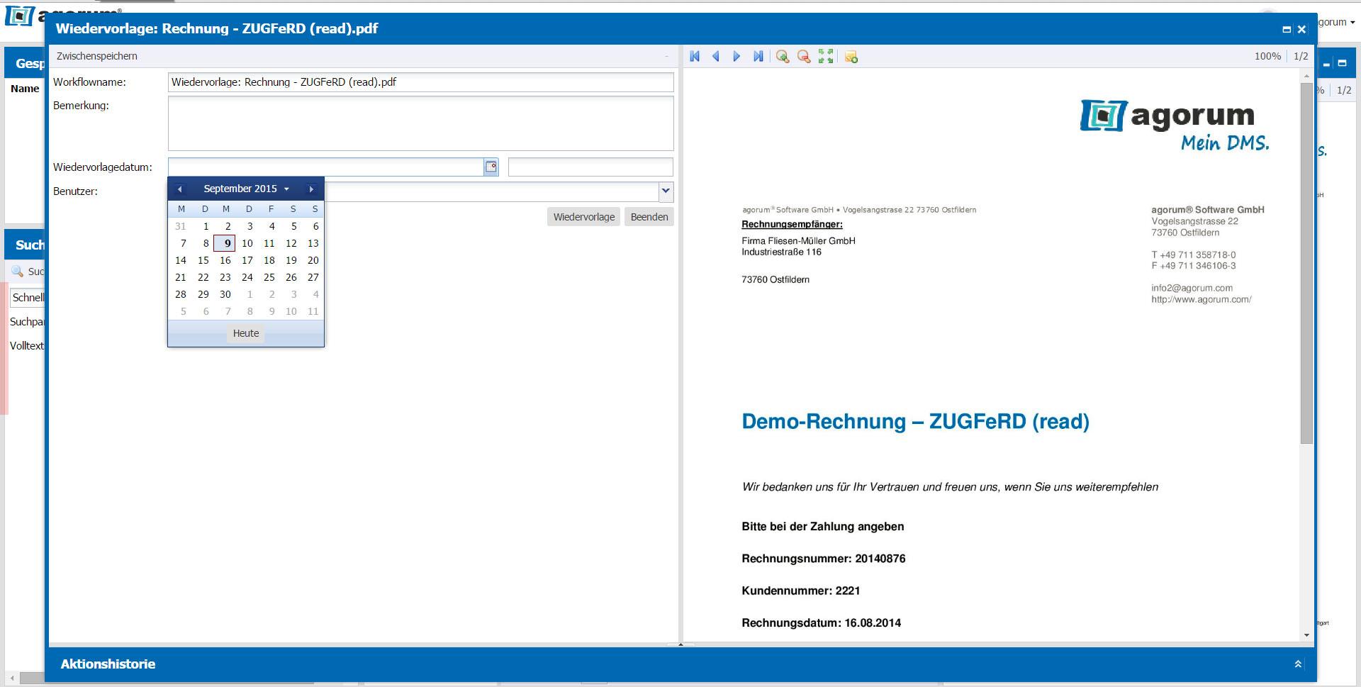 Dokumente im DMS bequem auf Wiedervorlage legen - Datum festlegen