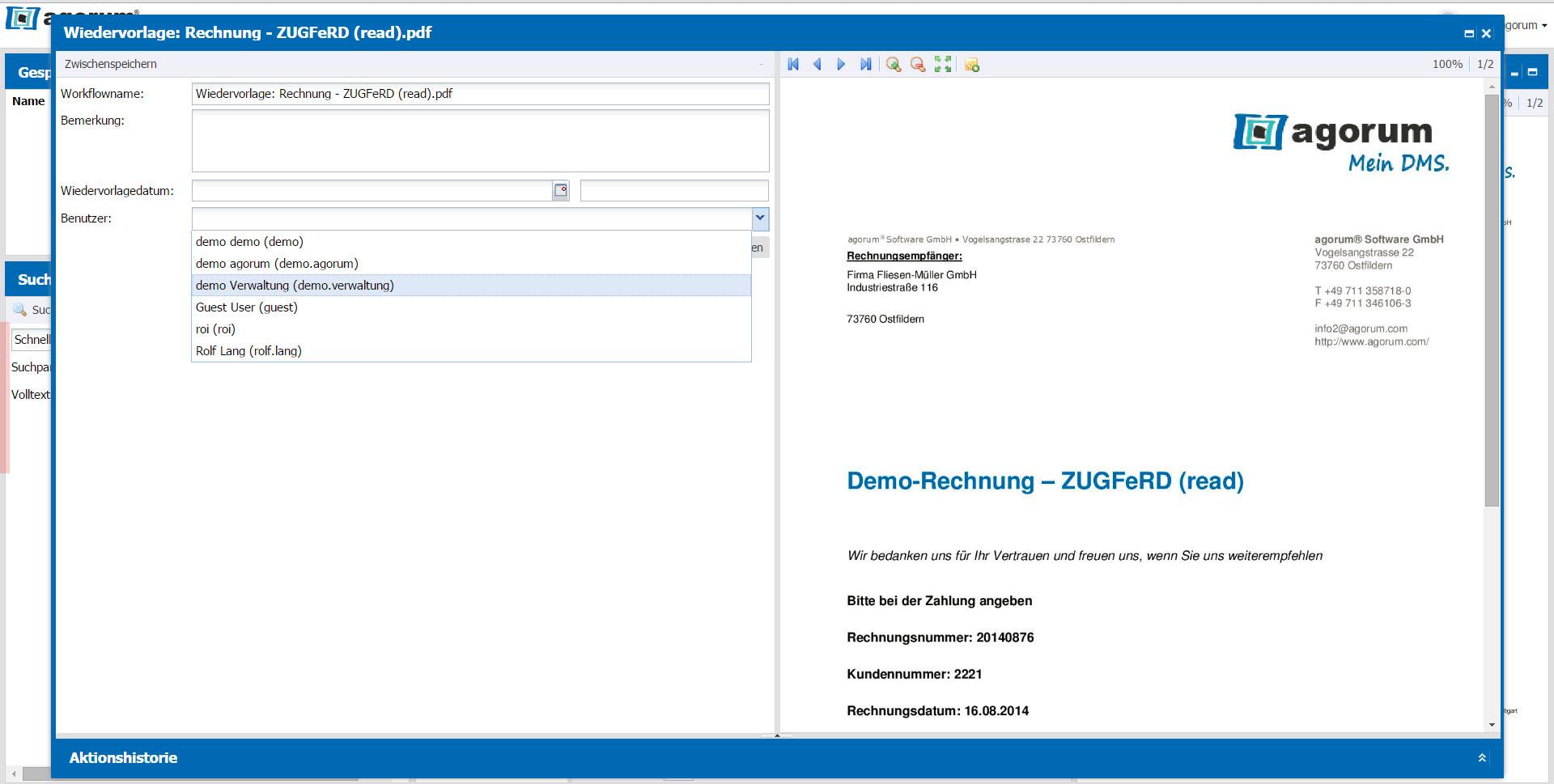Dokumente im DMS bequem auf Wiedervorlage legen - Adressat auswählen