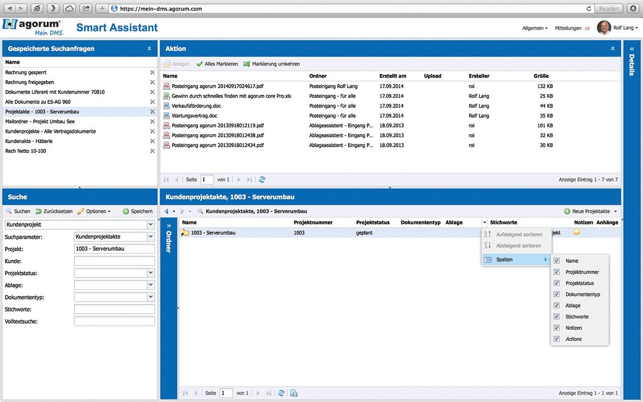 agorum core Smart Assistent Suchfunktion