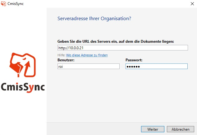 CmisSync einrichten: Serveradresse und Nutzerdaten eingeben