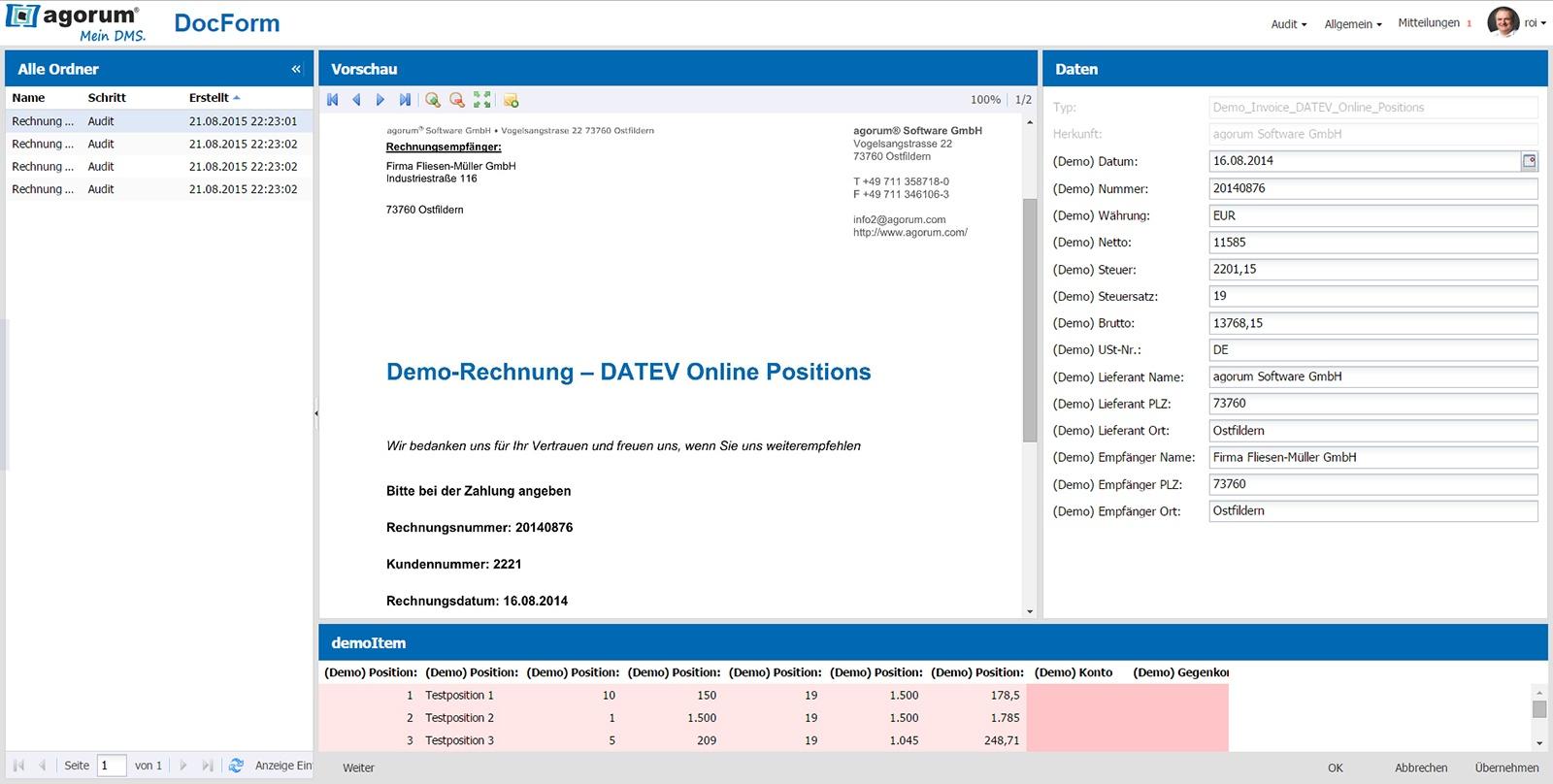 Rechnungsansicht in der Mitte, links die automatisch erfassten Metadaten.