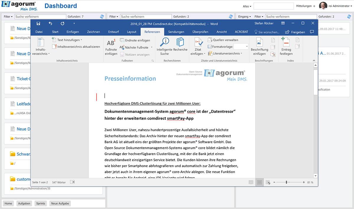 agorum® core Office-Dokument bearbeiten