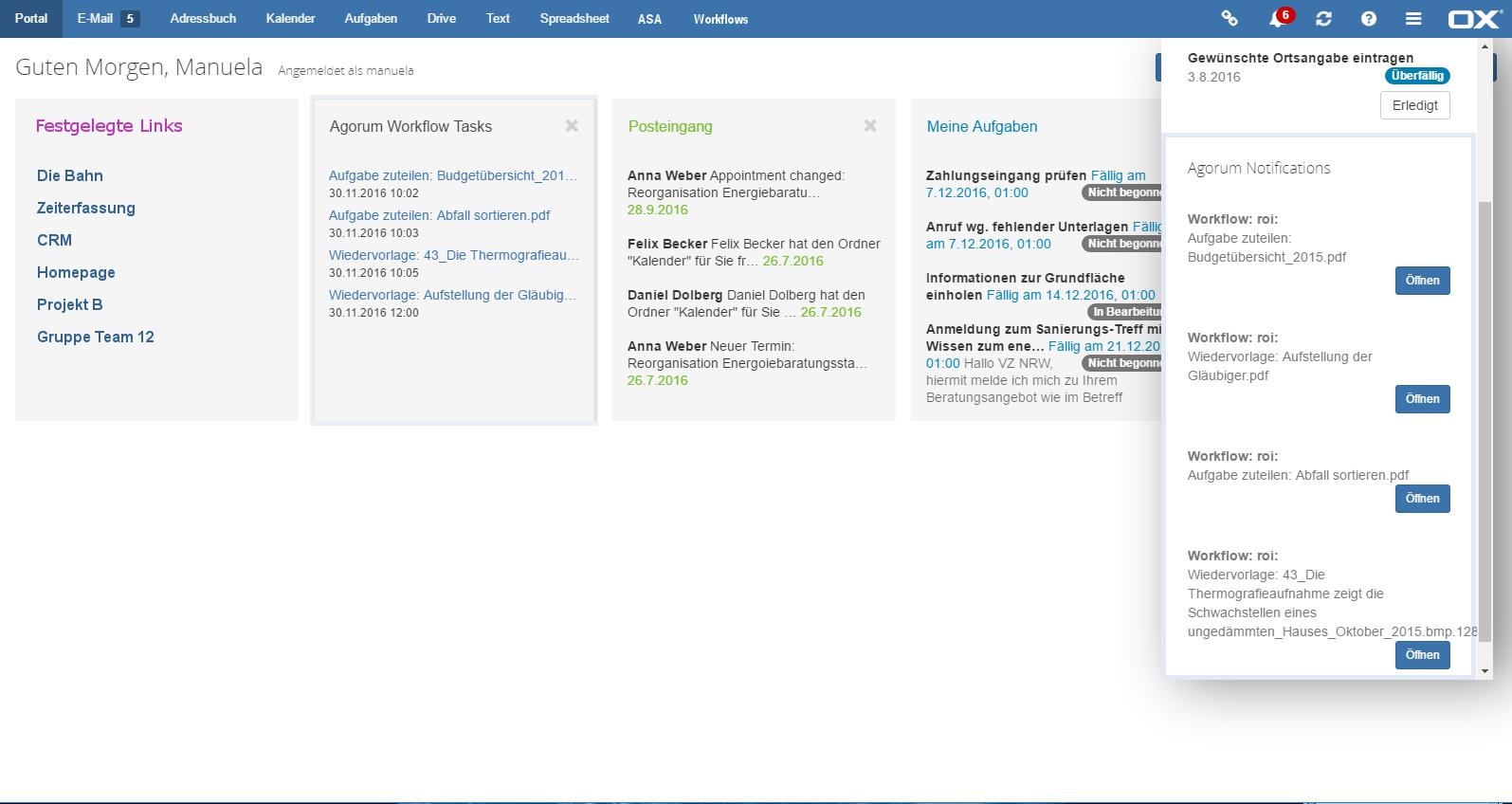 agorum® core Notizen und Open-Xchange Notifications auf einen Blick.