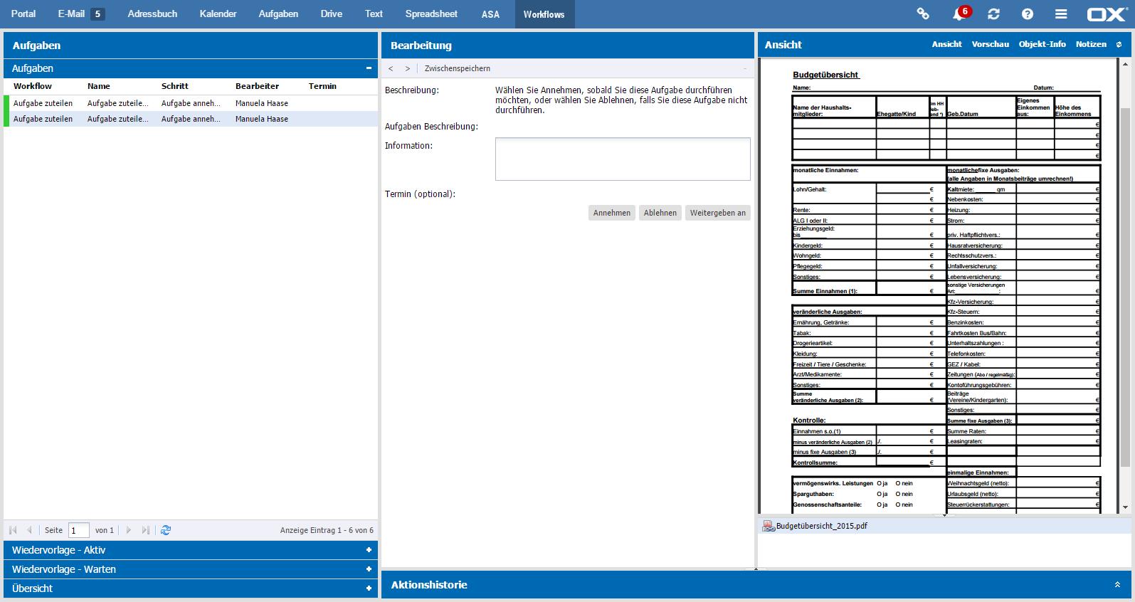 Alle Workflow-Aufgaben auf einen Blick erfassen und komfortabel bearbeiten