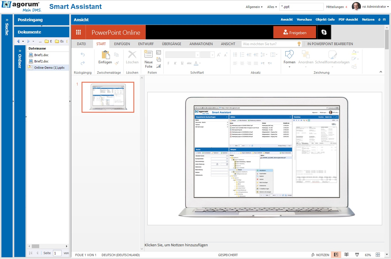 Microsoft Powerpoint Online im agorum® Smart Assistant