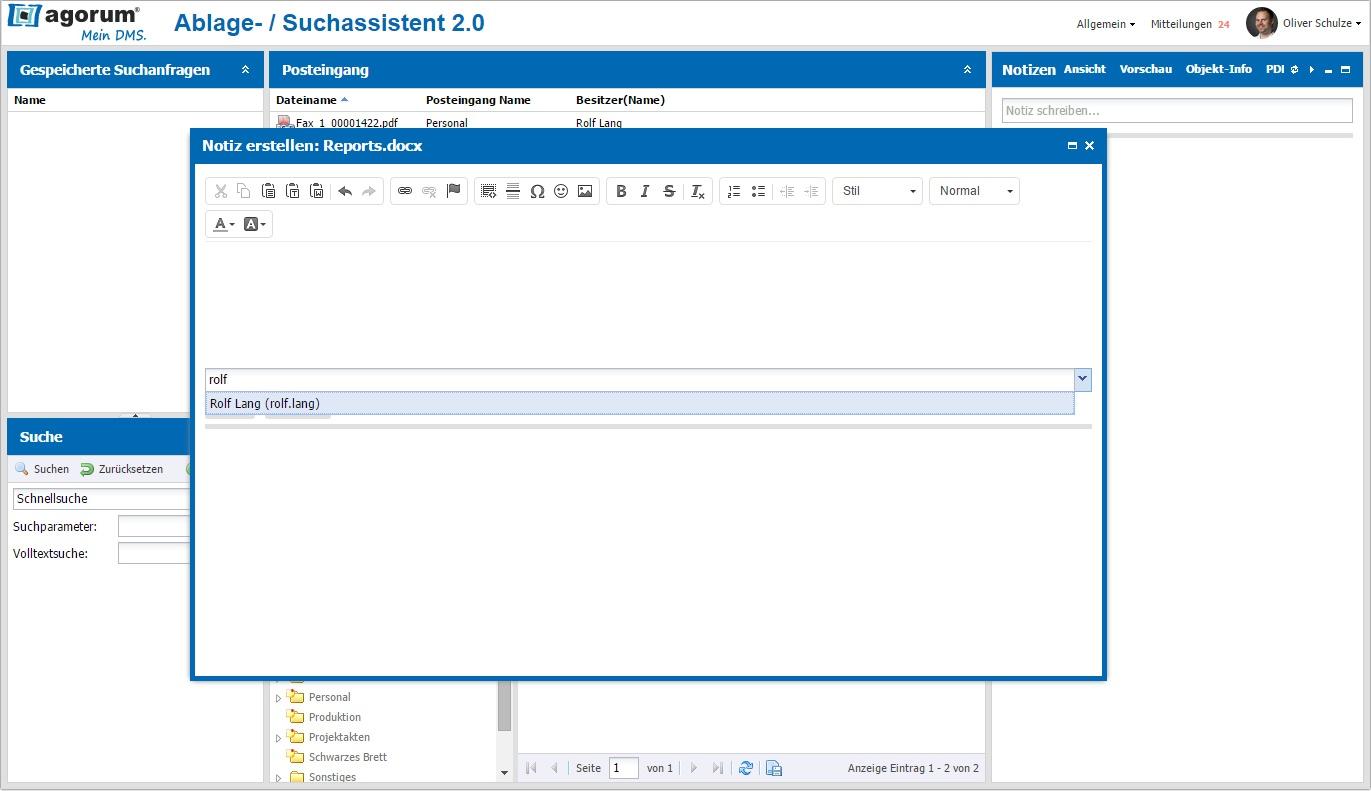 Notiz im integrierten Editor erstellen und empfänger auswählen