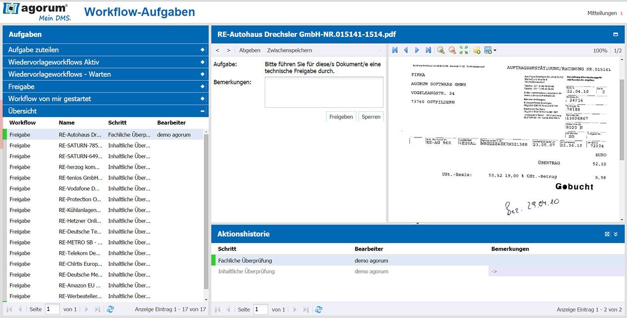 Workflow zur Rechnungsfreigabe in agorum® <i>core</i>