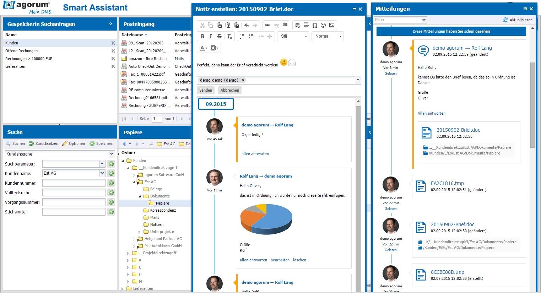 agorum® core Smart Assistant - Mitteilungen und Notizfunktion.
