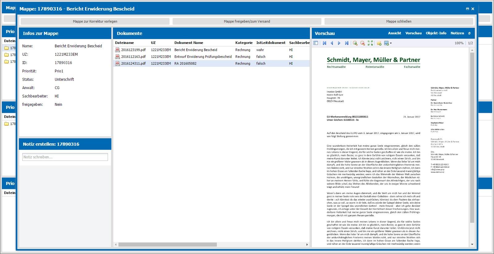 Mappe mit PDF-Vorschau