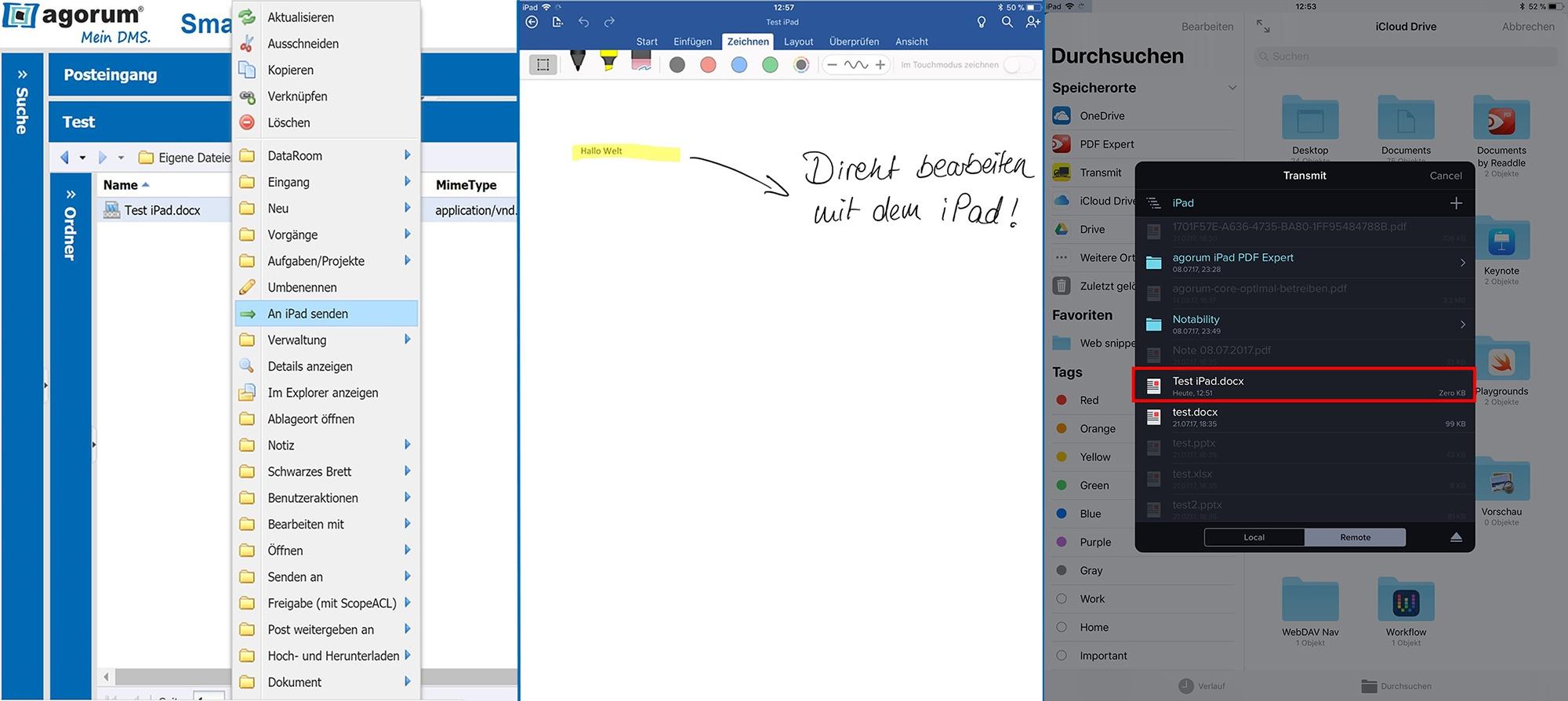 Dokument an iPad senden, bearbeiten und via Transmit speichern