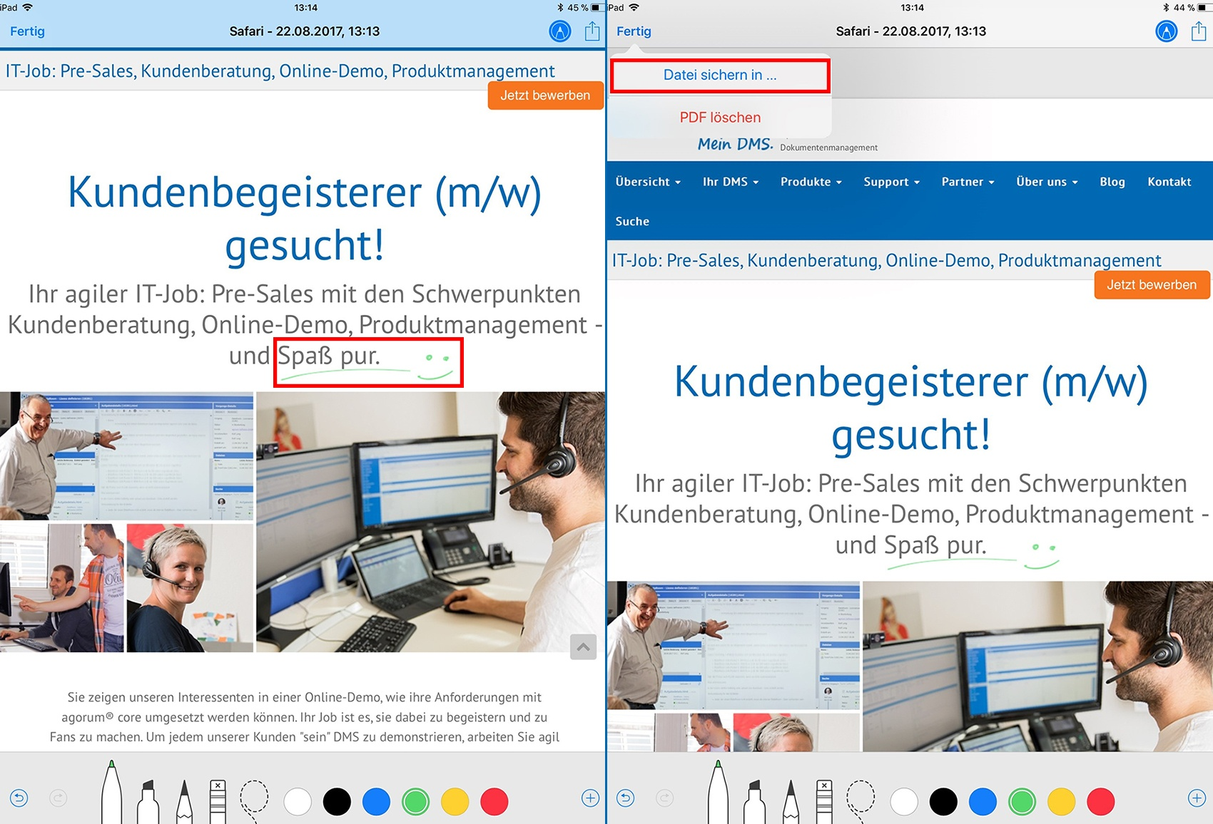 Notizen in Websites machen