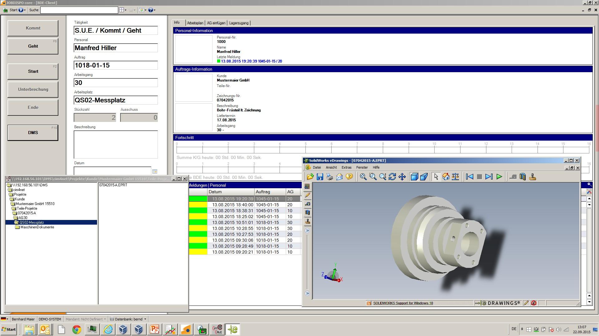 BDE-Verbund per Button im DMS - Bauteil/Arbeitsgang-Ordner öffnen - CAD-File und andere Dokumente sofort im Zugriff